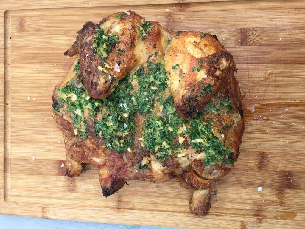 Helgrillad kyckling med gremolatasmör